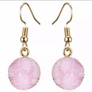 Pink DRUZY Quartz earrings